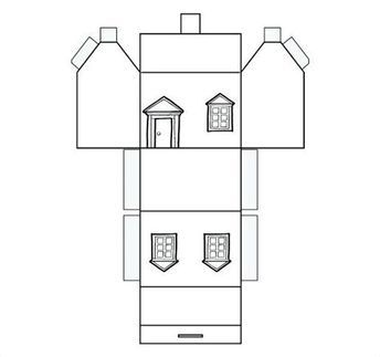 Image Result For Printable Foldable Houses Colorable Paper House Template House Template Paper Houses