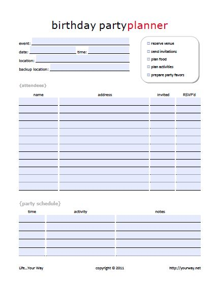 list of pinterest party planning checklist printable events pictures