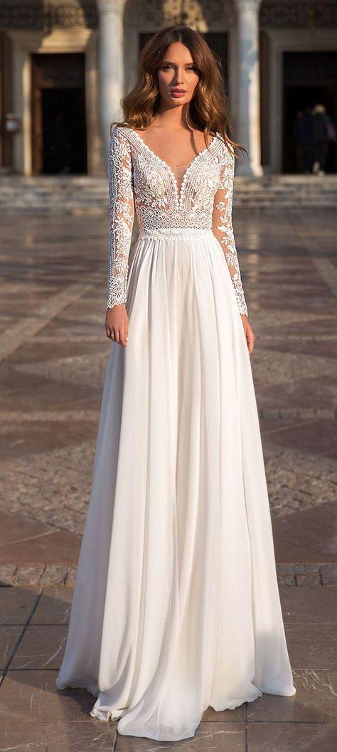 Long sleeve wedding dress lace, Wedding