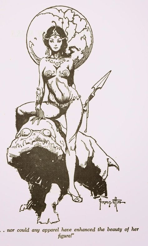 Cap'n's Comics: Cover to A Princess of Mars by Frank Frazetta Fantasy Paintings, Fantasy Artwork, Indian Paintings, Art Sketches, Art Drawings, A Princess Of Mars, Street Art Utopia, Sword And Sorcery, Black And White Drawing