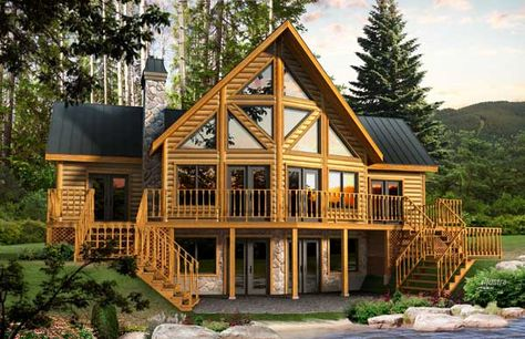 Dakota Log Home Plan - Bedrooms: 3, Bathrooms: 2.5, Square Feet: 1887
