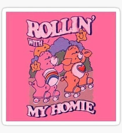iphone wallpaper retro Rollin With My Homies Sticker - - Aesthetic Indie, Aesthetic Collage, Aesthetic Vintage, Aesthetic Memes, Clueless Aesthetic, Baby Pink Aesthetic, Rainbow Aesthetic, Aesthetic Painting, Aesthetic Pastel