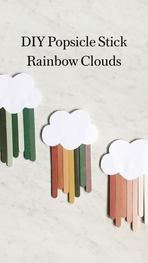 DIY Popsicle Stick Rainbow Clouds