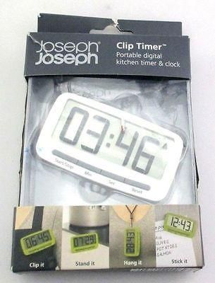 Joseph Joseph Clip Timer Portable Digital Kitchen Timer And Clock, White  40082