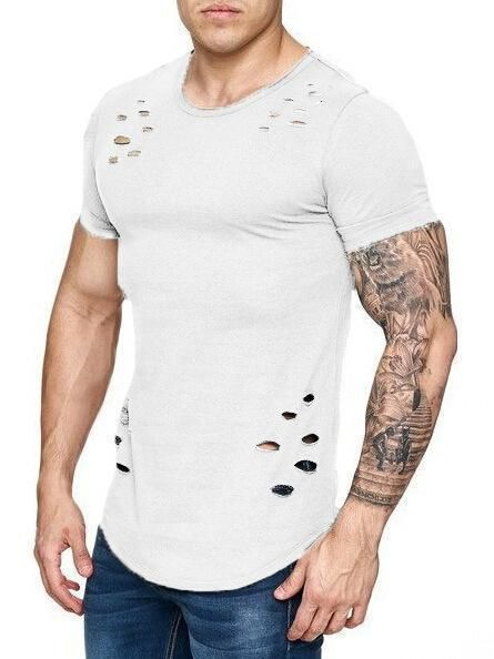 Domple Mens Casual Long Sleeve Crew Neck Ripped Floral Print Slim Fit Curve Hem Tshirt