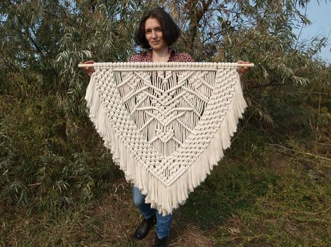 Price includes shipping Color: off-white. Material: unbleached cotton rope, wood. Length of the wood is approx 100 cm (39 inches); macrame canvas...
