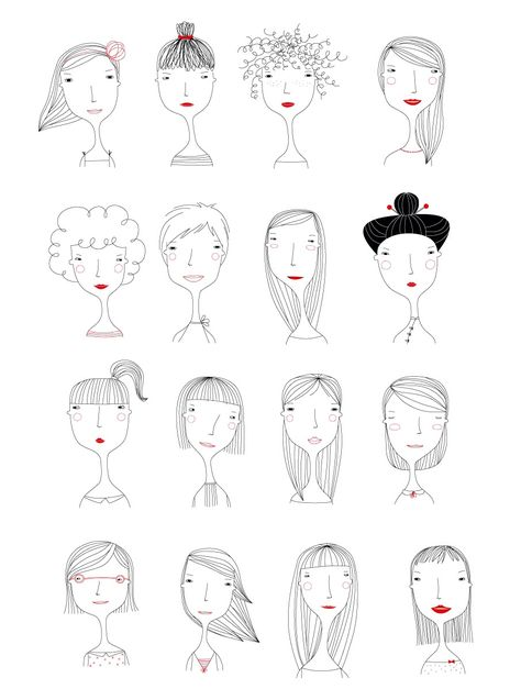 Elichkata ladies diy アート, character illustration, hair illustration, people illustration, line art Doodle Art, Doodle Drawings, Easy Drawings, People Illustration, Illustrations, Illustration Art, Character Illustration, Illustration Mignonne, Doodles