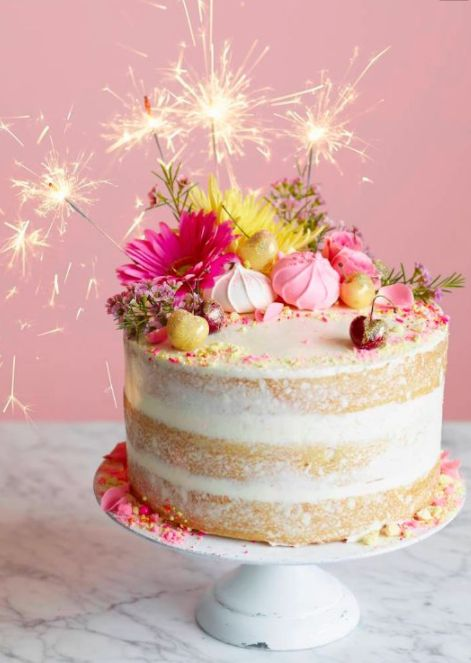 Floral Pink Birthday Cake With Sparklers