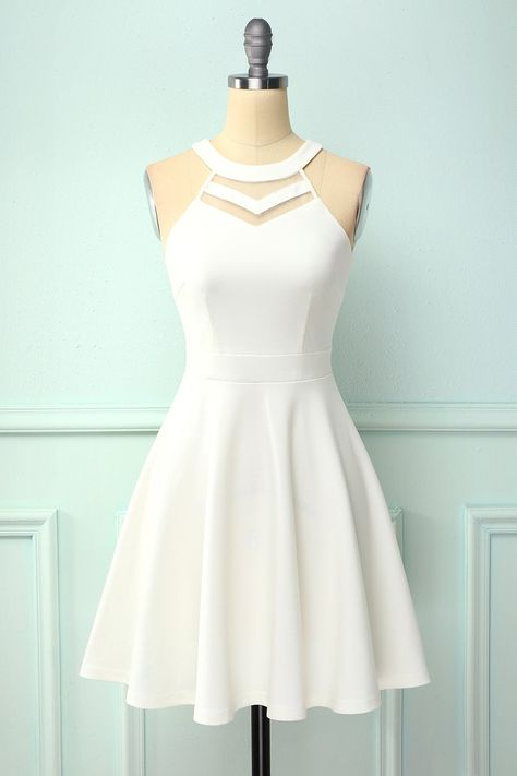 Zapaka White A Line Mesh Neck Sleeveless Formal Party Skater Dress Cute Dresses For Teens, Pretty Prom Dresses, Simple Dresses, Beautiful Dresses, Cute Homecoming Dresses, Simple Party Dress, Cute Skater Dresses, Skater Skirts, Dama Dresses