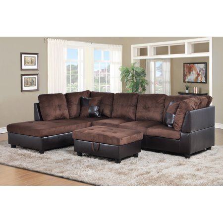 Hermann Left Chaise Sectional Sofa With Storage Ottoman Chocolate Brown Microfiber Walmart Com Sectional Sofa Furniture Living Room Sectional
