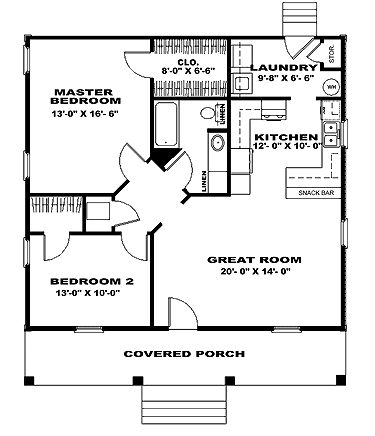Home Plans HOMEPW07954 - 1,007 Square Feet, 2 Bedroom 1 Bathroom Cottage Home with