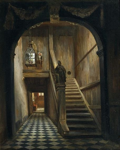 Artwork by Henri De Braekeleer, Vestibule de la maison du peintre, Made of  canvas   Dark art drawings, Interior paintings, Painting