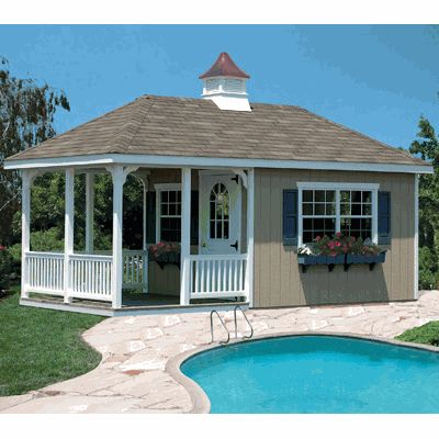 Home Place Structure Pool House Kit 10 X 20 Suncast With Images Pool Houses Pool House Backyard Buildings