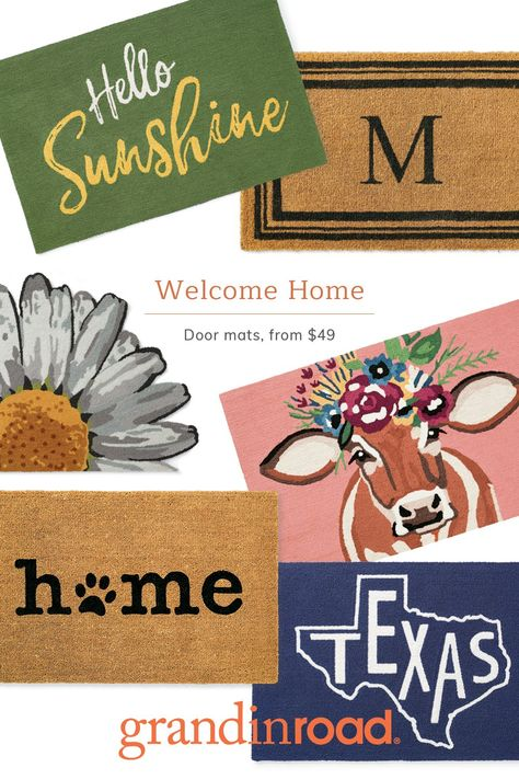 Greet your guests at the door with charming welcome mats. Explore playful door mat designs with inviting phrases, or shop monogrammed door mats for an elegant traditional look. Bring a breath of fresh air to your decor with spring- and summer-themed door mats featuring bright fruit and florals. If you're looking for something simple and timeless, browse solid-color designs or understated patterns like lattice, striped, and plaid for refined, year-round style.