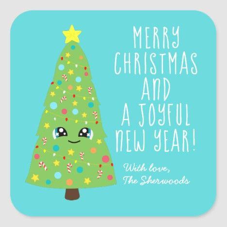 Cute Blue Kawaii Christmas Tree Cartoon Merry Xmas Square Sticker Zazzle Com Kawaii Christmas Merry Xmas Cute Christmas Tree