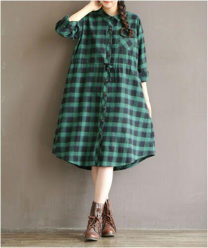 80ce6144598f Plus Spring Women Single Breasted Loose Long Sleeve Mori girl Linen Shirt  Dress | eBay