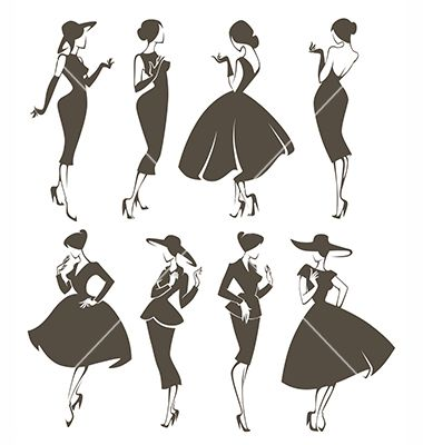Large collection of retro vintage women silhouettes vector by tachyglossus on VectorStock®