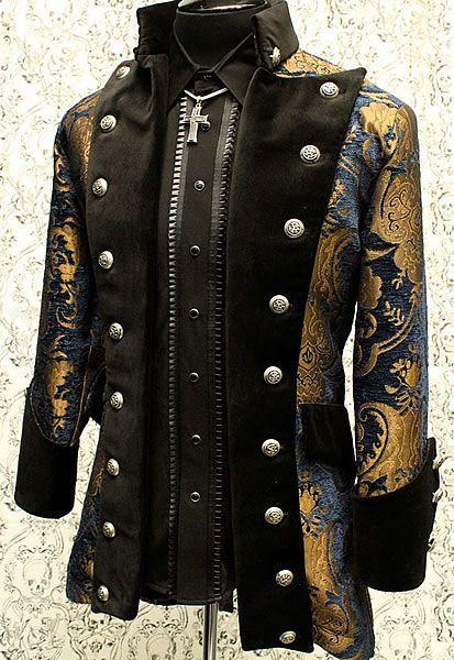 Gothic banda Militare Giacca Nero Giacca Da Uomo Steampunk Gotico Vintage Coat