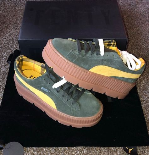 90a538dcd375 SUPER CUTE - Puma Fenty by Rihanna Suede Cleated Creeper Sneakers- Green-  Womens  fashion  clothing  shoes  accessories  womensshoes  athleticshoes ( ebay ...