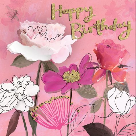 "A pretty pink floral birthday card featuring gorgeous flowers and gold accents. With caption: ""Happy Birthday"""