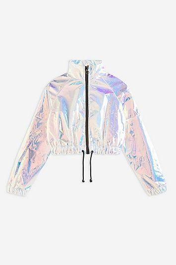 Womens **Blue Hologram Jacket By Jaded London - Blue