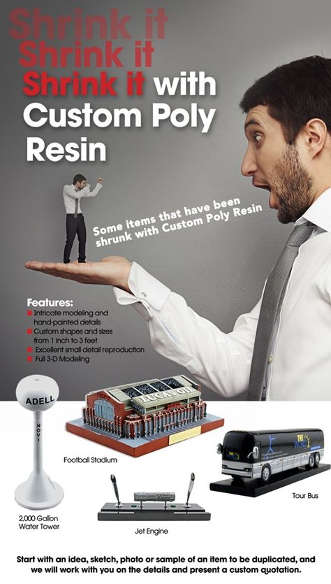 Poly Resin products - fully dimensional 3-D reproductions and models - job quotation sample