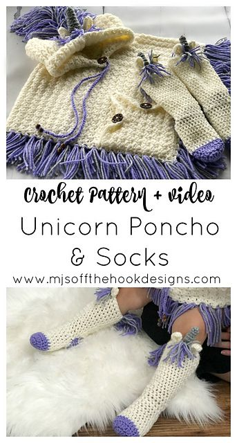 Hooded Unicorn Poncho & Socks pattern by MJ's Off The Hook