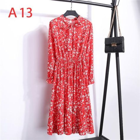 Women Casual Autumn Dress Lady Korean Style Vintage Floral Printed Chiffon Shirt Dress Long Sleeve Bow Midi Summer Dress Vestido - A-13 / M