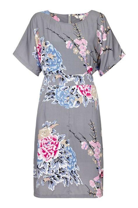 YUMI CURVES Sommerkleid Tunikakleid Chiffon PLUS SIZE Abendkleid grau AS177P