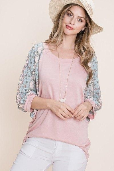 Solid French Terry Fashion Top - L