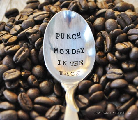 PUNCH Monday in the FACE Hand Stamped Vintage Coffee Spoon