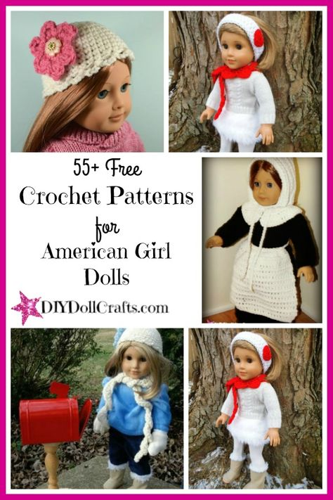 55 (and counting!) free crochet patterns for American Girl dolls clothes and accessories. With projects ranging from complete outfits to fun extras like hats, poncho, and scarfs, there are tons of free AG doll crochet patterns to make for that special 18 inch doll fan in your life. #AmericanGirldoll #crochet #freepatterns #dollclothespatterns
