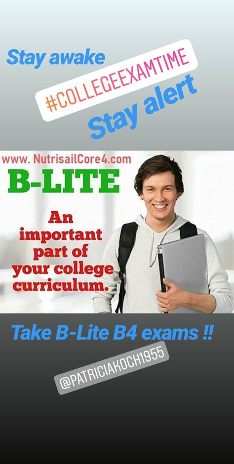 Are you in college? Taking college exams? Need more attention span? More mental focus? Trying to stay awake during exams? Don't use Ritalin. Try B-Lite Daily Energizer. Take one at the start of the day. Take 1 before exams. They work great !!. . . . #collegeexams. #college #collegelife #collegeprep #ritalin #dailyenergy #mentalfocus #mentalclarity #attentionspan #stayawake #Nutrisail #nutrisailblite #bliteclassic #blitedailyenergizer