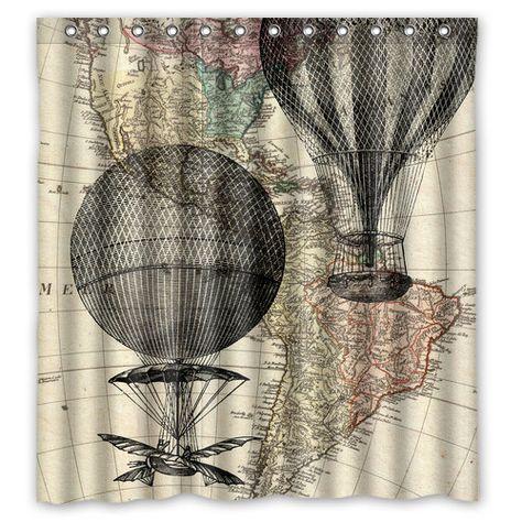Hot Air Balloon Vintage Map Shower Curtain