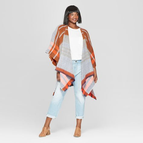 ca520ca23ac5a Women s Plus Size Woven Plaid Poncho Sweater - Universal Thread Rust (Red)  One Size