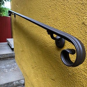 4 Ft Wrought Iron Handrail Step Rail Stair Rail With Etsy Wrought Iron Handrail Iron Handrails Wrought Iron Stair Railing