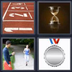 Reloj De Arena Mujer Corriendo Medalla Respuesta Con Imagenes