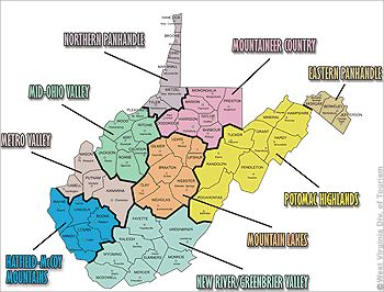 West Virginia Regions West Virginia Home Pinterest Virginia - West virginia map usa