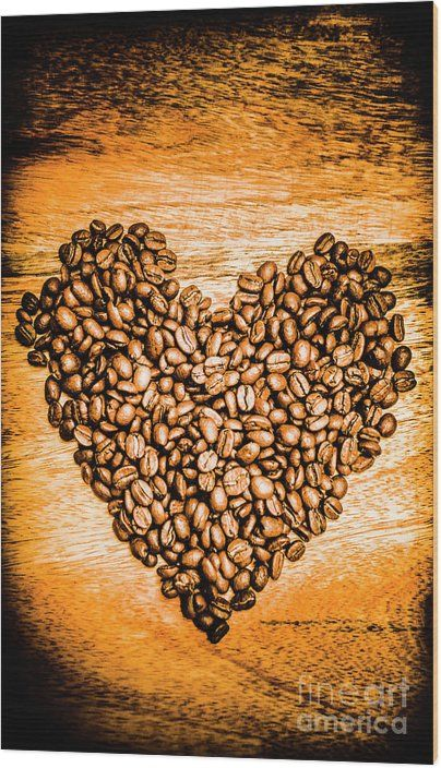 Hot Coffee Date Wood Print Kitchen Romance In A Still Life Symbol Of Coffee Bean Togetherness Hot Kitchen D In 2020 Photography Wall Art Art Gallery Wall Wood Print
