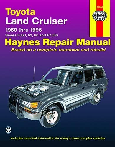 Toyota Land Cruiser Series Fj60 62 80 Fzj80 80 96 Haynes Repair Manual Haynes John 9781563923012 Amaz In 2021 Land Cruiser Repair Manuals Toyota Land Cruiser