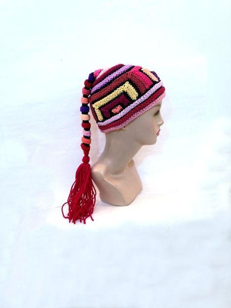 Hand knitted hat unisex unusual hat crazy hippie funky bohemian hat  designer red hat statement womens beanie festival clothing boho hat b886abbabd