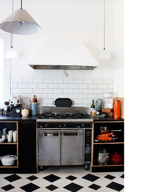 subway tiles/ simple kitchen