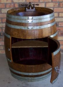 Oak Barrel Stainless Steel Wine Sink Whiskey
