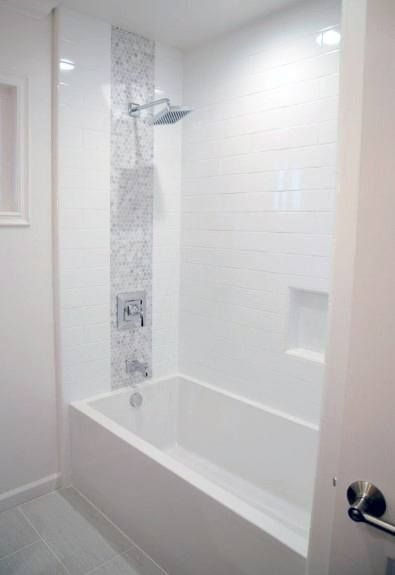 Bathroom With Bathtub And Gray Subway Tile Shower Surround With Niche Or Alcove In Hexagon Marble Tile Small Bathroom Remodel Bathrooms Remodel Hall Bathroom