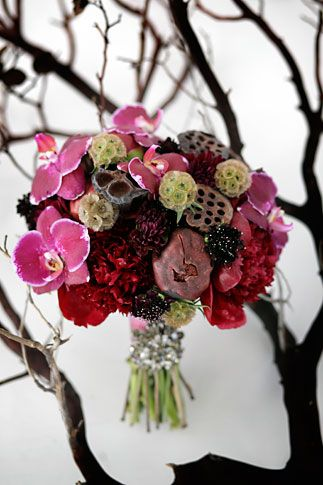 scabiosa, phalaenopsis orchids, lotus pods, peonies, chocolate cosmos