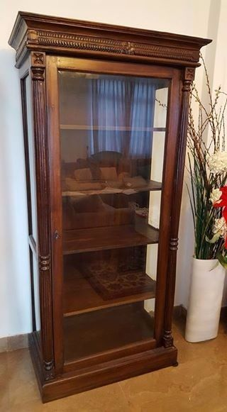Teak Wood Glass Curio Cabinet With 4 Wood Shelves 72 Tall