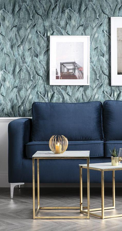 Canape Design 3 Places Velours Bleu Nuit Harry Canape Design