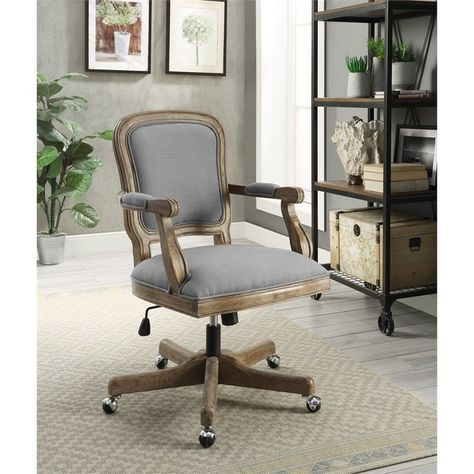 Linon Maybell Wood Upholstered Office Chair Light Gray Furniture