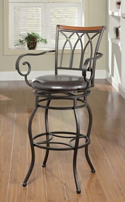 Marvelous 102575 Swivel Metal Bar Stool With Arms Decorative Wood Squirreltailoven Fun Painted Chair Ideas Images Squirreltailovenorg