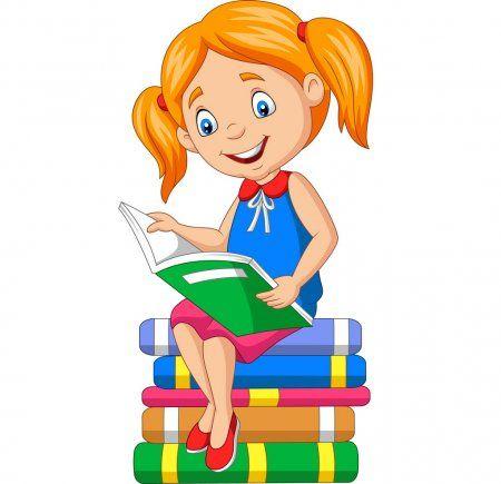 Ilustracion Vectorial De Cartoon Nina Leyendo Un Libro En Los Libros De Pila Ilustracion De Stock